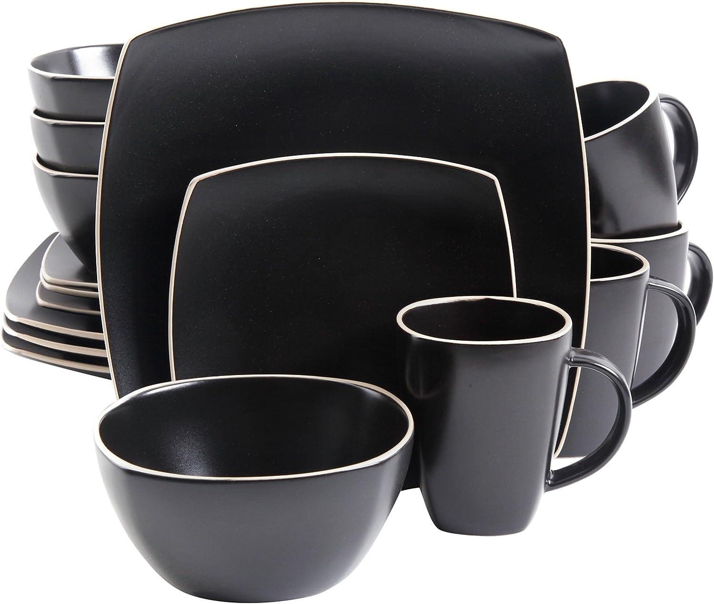 Stoneware Gibson Home Soho Lounge Matte 16 pc Dinnerware Set Black