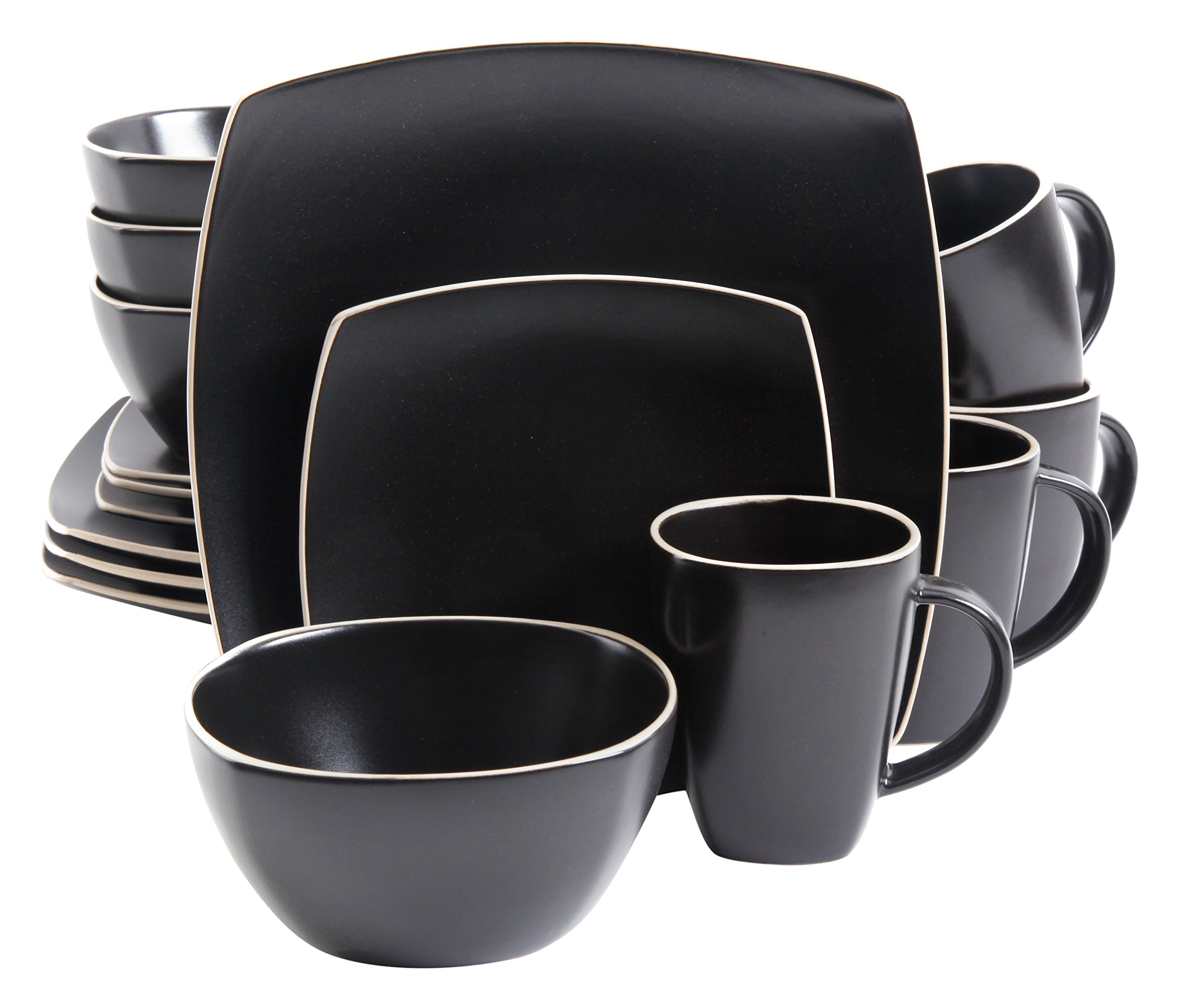 Gibson Overseas, Inc. Gibson Home 102261.16RM Soho Lounge Square 16-Piece Dinnerware Set Service of 4, Stoneware, Black Matte Dinnware