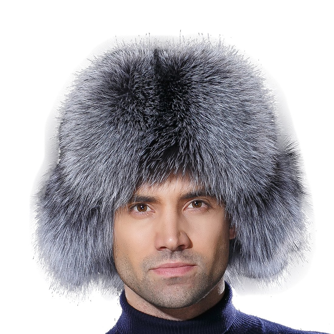 URSFUR Winter Russian Fur Hat Mens Real Silver Fox Fur Ushanka Trapper Cap by URSFUR