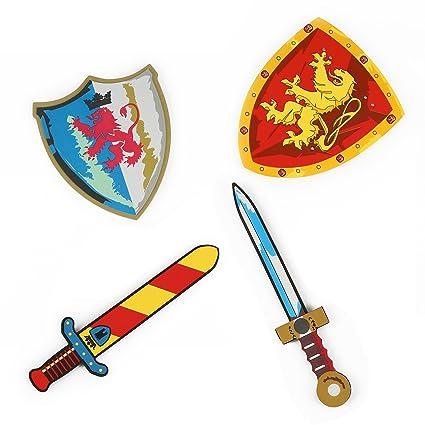 Amazon.com: Espuma espadas y Escudos (Fire Respiración Rojo ...