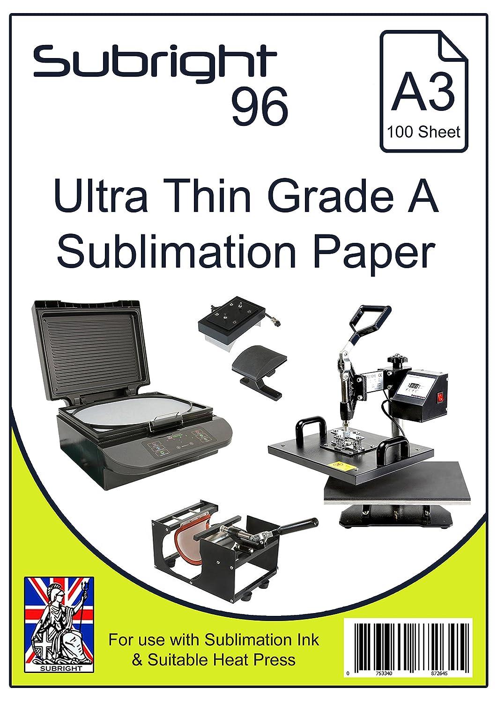 Subright - Papel de sublimación A3, 96 g/m², ultrafino, 100 ...