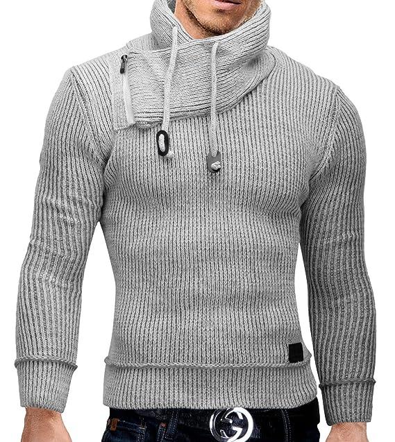 MERISH Suéter de Punto para Hombre con Cuello Chal Elegante Slim Fit ...