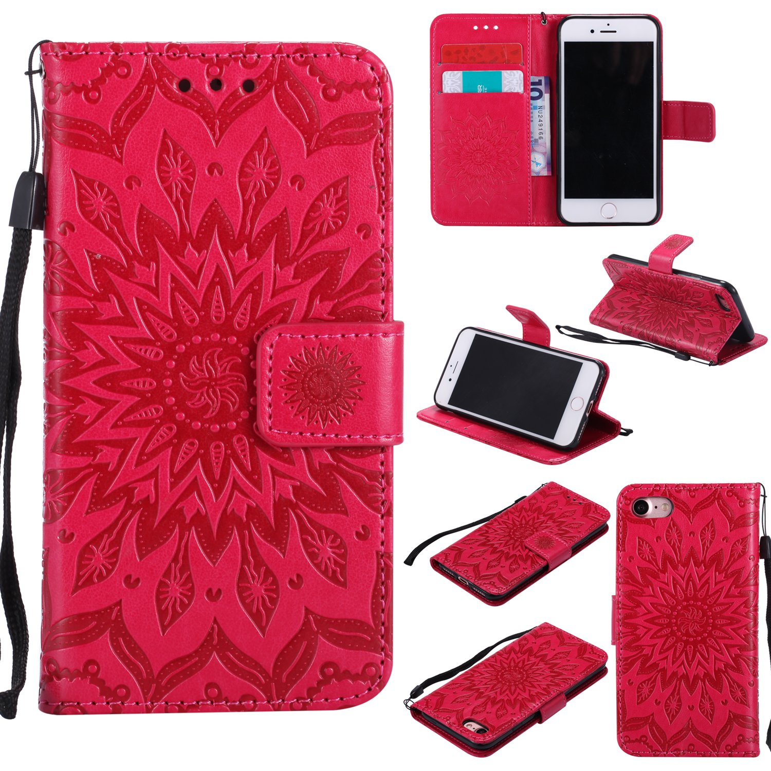 Phone Protective Case for iPhone 6, iPhone 6S Case Leather Wallet, Gostyle Sun Flower Pattern Embossed Stand Feature PU Flip Cover Magnetic Closure with Card Slots Holder and Lanyard Strap(Rose Gold)