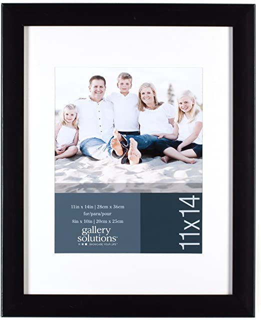 Amazon Com Gallery Solutions 11x14 Flat Black Wall Picture Frame With White Mat For 8x10 Image Home Kitchen