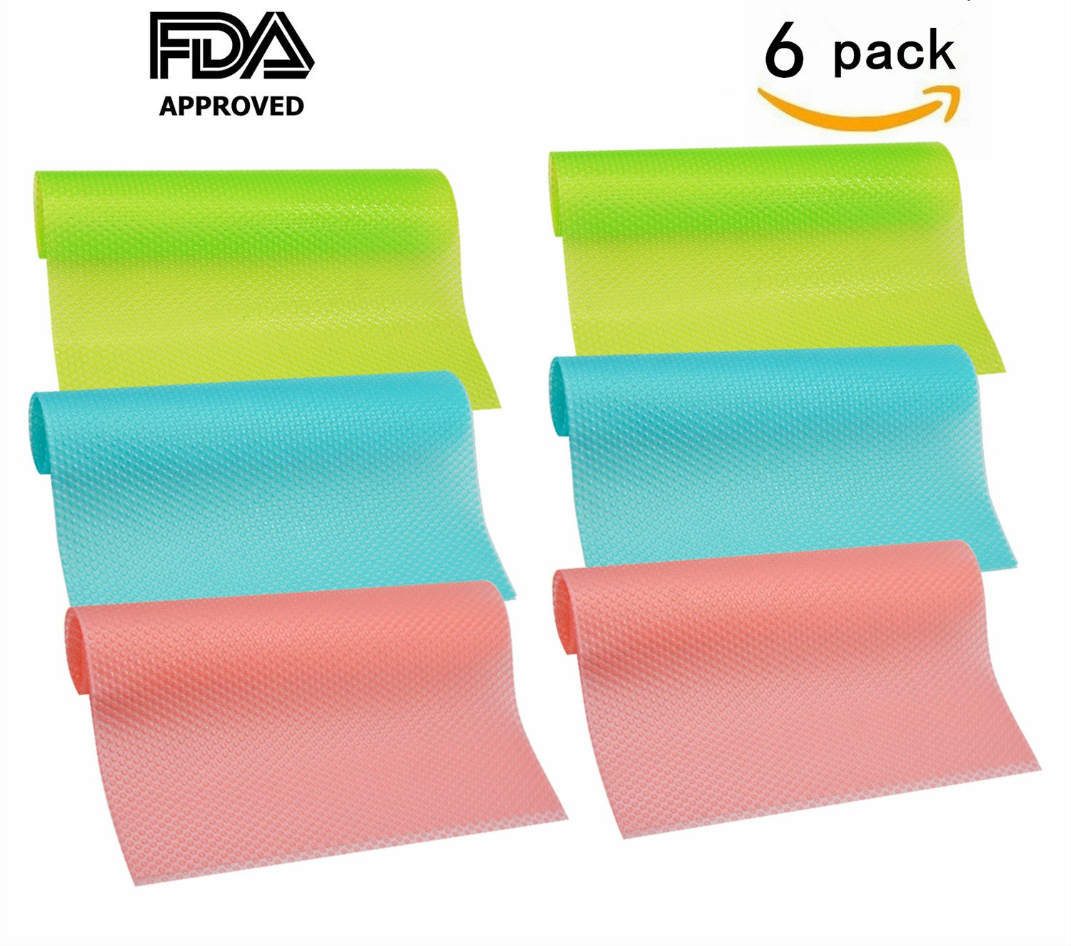 6 Pack Refrigerator Mats, HityTech Can Be Cut Refrigerator Liners Mats Anti-bacterial Anti-frost Waterproof Fridge Pads Shelves Drawer Table Mats -2 Red/2 Green/2 Blue 17 3/4 x 11 3/4 x 1/16 IN