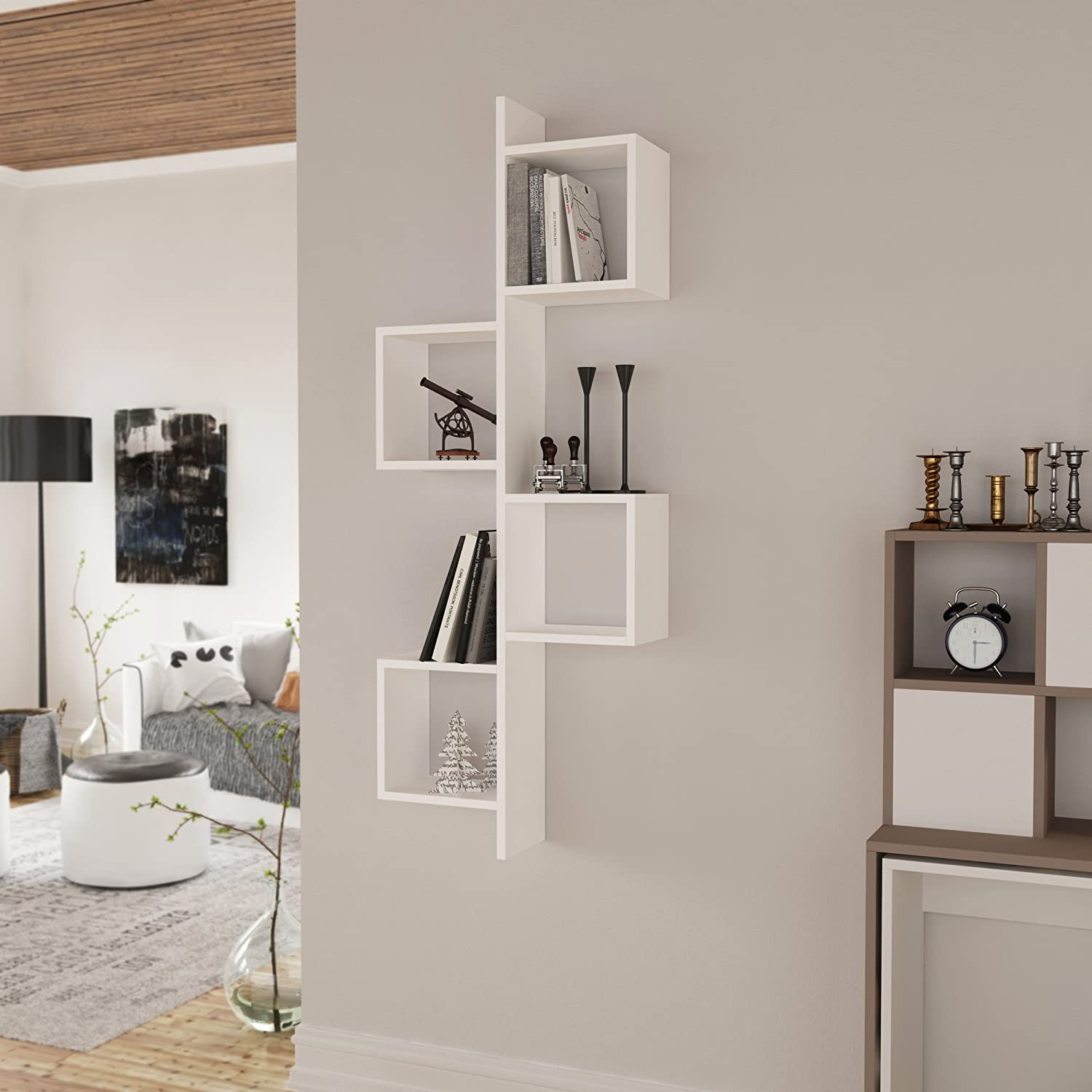 Homitis Tremendous Floating Wall Shelf, White, Book Shelf, Space Saver,