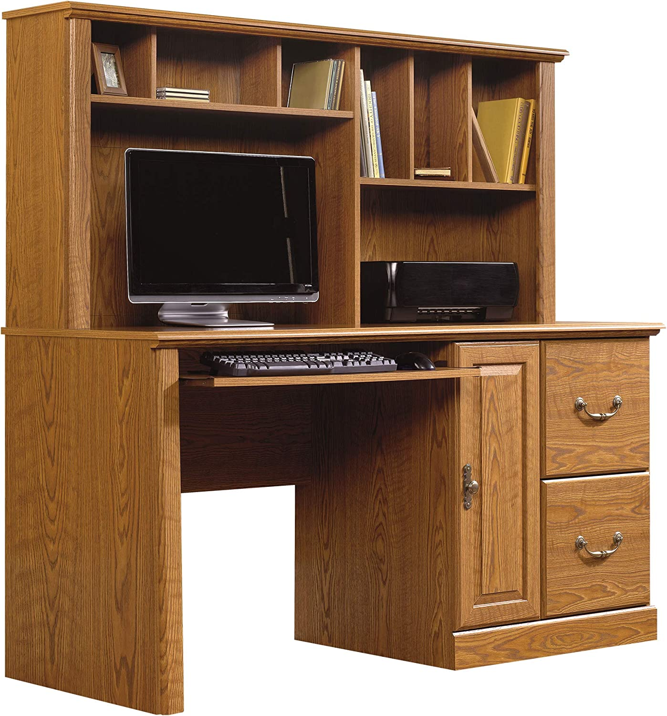 Amazon Com Sauder Orchard Hills Computer Desk With Hutch Carolina Oak Finish Furniture Decor
