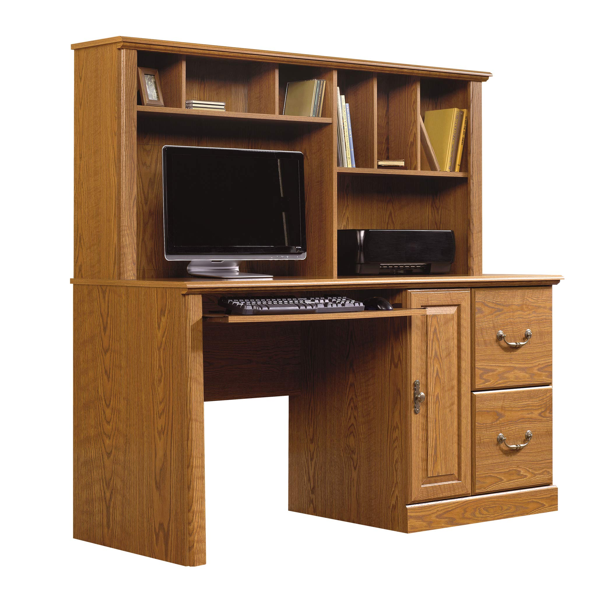 Sauder 401354 Orchard Hills Computer Desk with Hutch, L: 58.74'' x D: 23.47'' x H: 57.24'', Carolina Oak finish