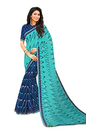 006cff402a Laxmipati Tabassum Chiffon Printed Saree (Blue) by Indians Boutique:  Amazon.in: Clothing & Accessories