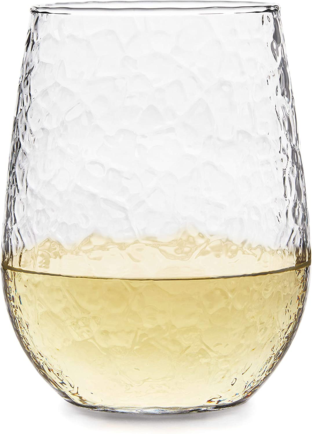 Libbey Stemless All-Purpose Wine Glasses, Set of 8, Hammered Full (17 oz)