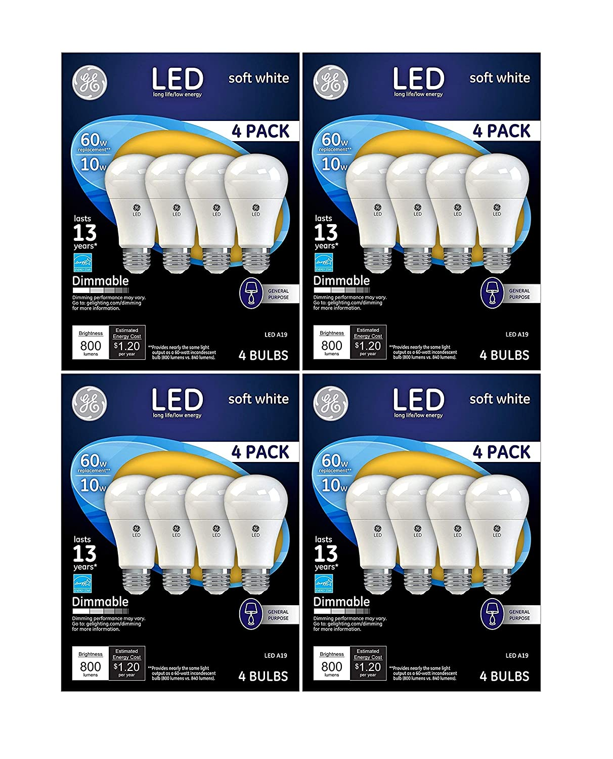 16 PACK GE LED 60W = 10W Soft White 60 Watt Equivalent A19 2700K light bulb