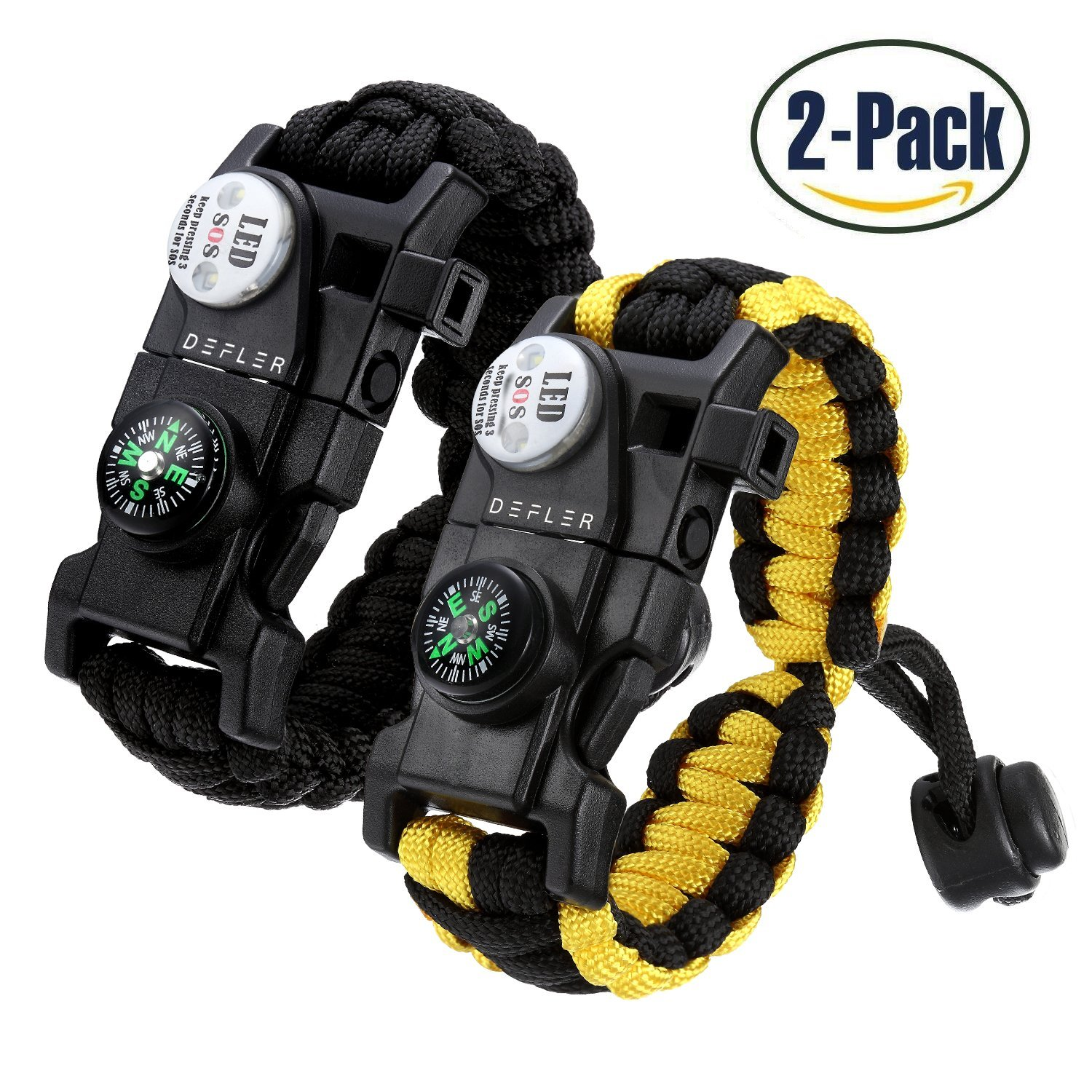 Defler Paracord Survival Bracelet, [2 Pack] 20 in 1 Survival Gear Kit with Waterproof SOS LED Light Emergency Knife Whistle Compass Fire Starter for Camping Hiking Cycling