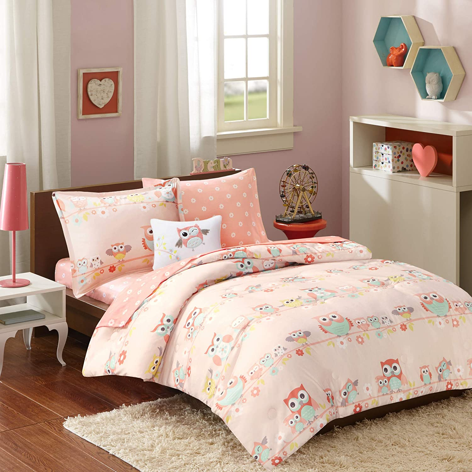 Mi Zone Kids Wise Wendy Comforter Reversible Bag Cute Owl Flower Floral Botanical Happy Printed Ultra-Soft Overfilled Down Alternative Hypoallergenic All Season Bedding-Set, Full, Blush