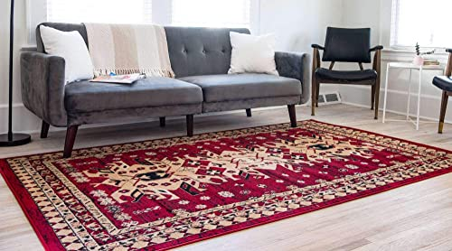 Unique Loom Taftan Collection Geometric Tribal Red Area Rug 4 0 x 6 0