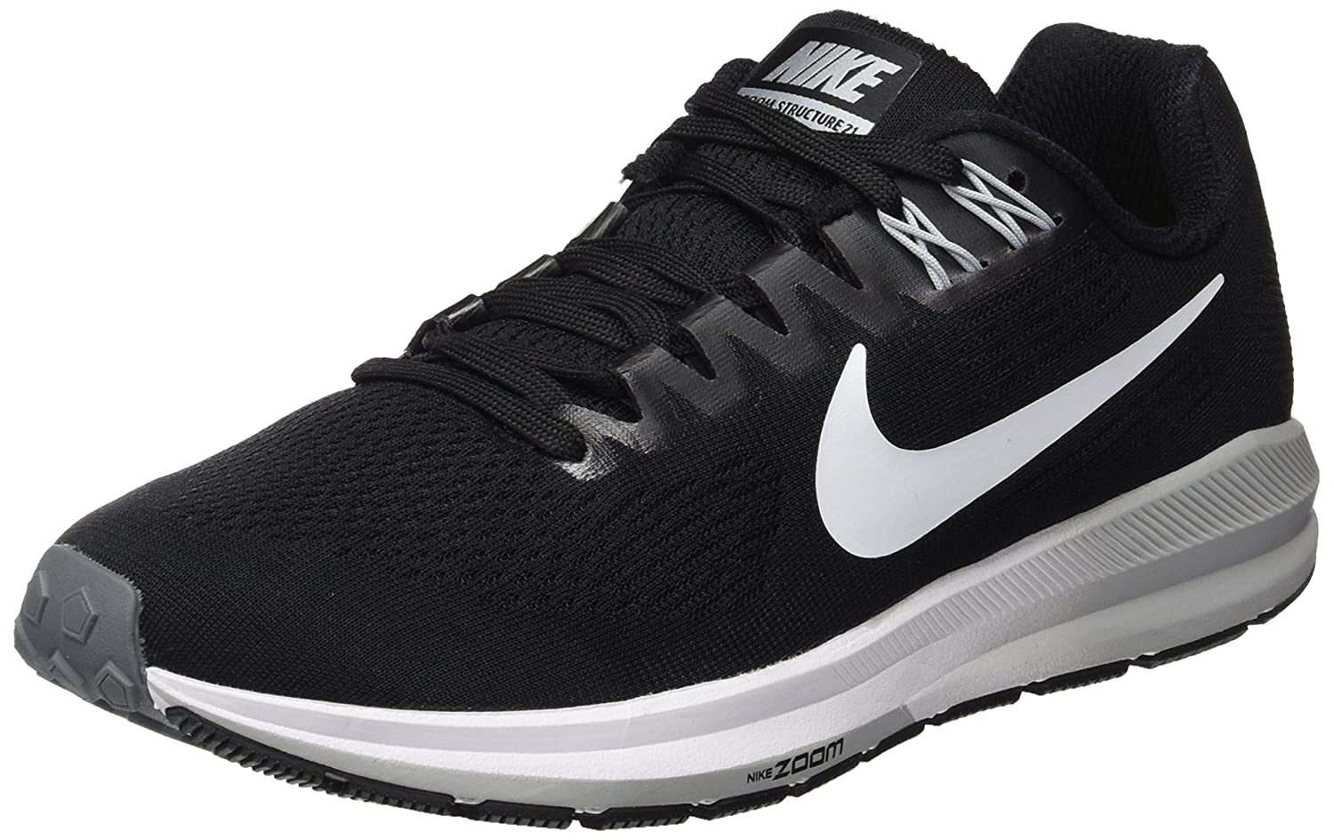 Nike W Air Zoom Structure 21, Zapatillas de Running para Mujer 38 EU|Negro (Black/White-wolf Grey-cool Grey 001)