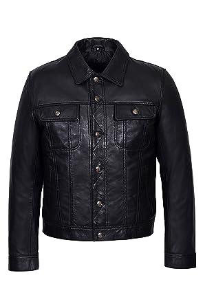 Noir Napa Classique Soft Shirt Réel Trucker Jacket Occidentale Homme HO5xYw6q