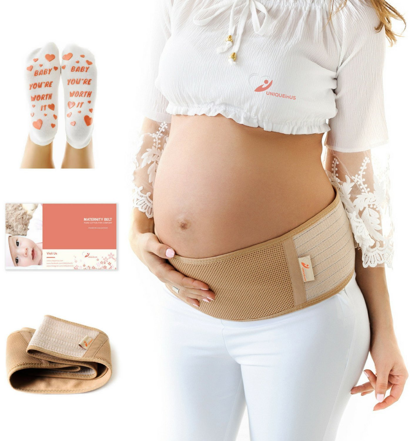 UNIQUEinUS Maternity Belt - Breathable Belly Band for Pregnancy Support - Hip, Pelvic & Lower Back Pain Relief. Adjustable Pregnancy Belt + Labour Socks Bonus. Abdominal Binder One Size, Beige