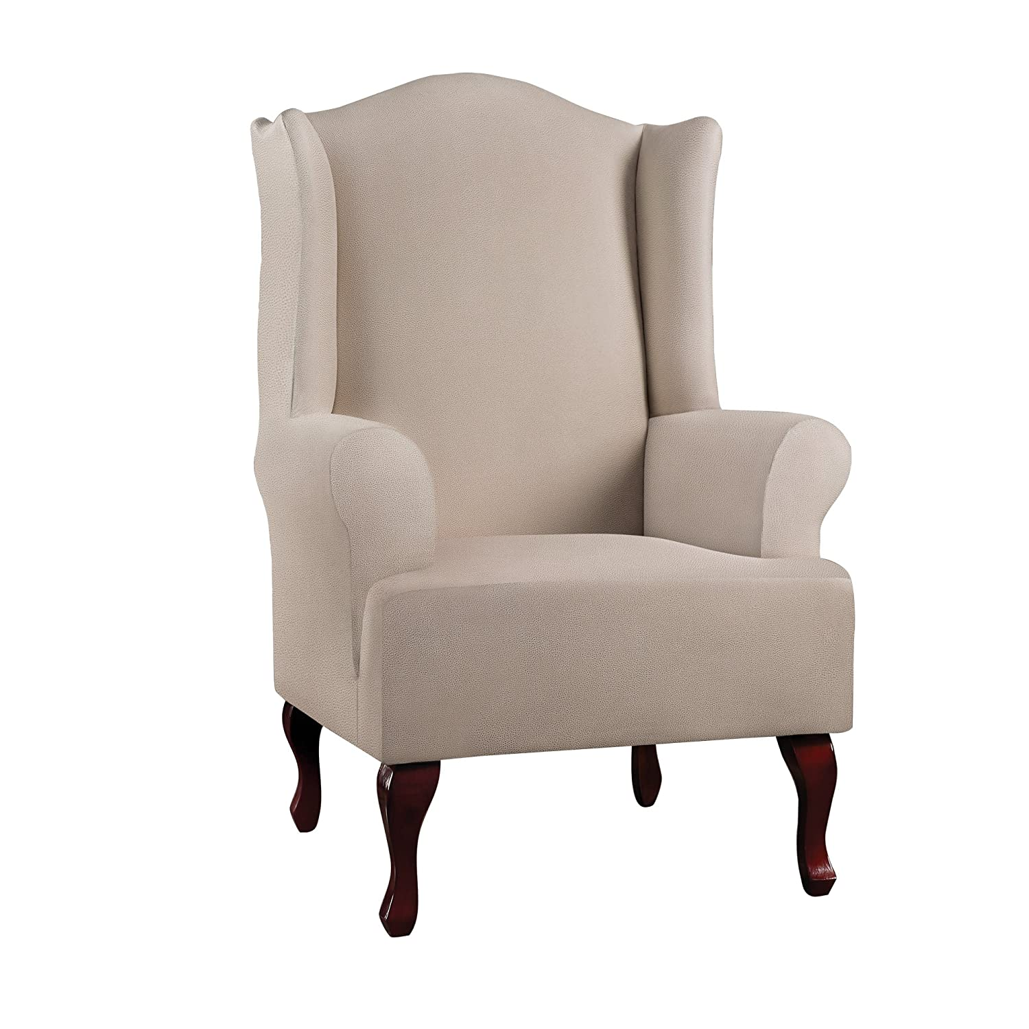 Sure Fit究極HeavyweightストレッチレザーWing Chair Slipcover – Pebbledアイボリー( sf46672 )   B079Z2DZPF