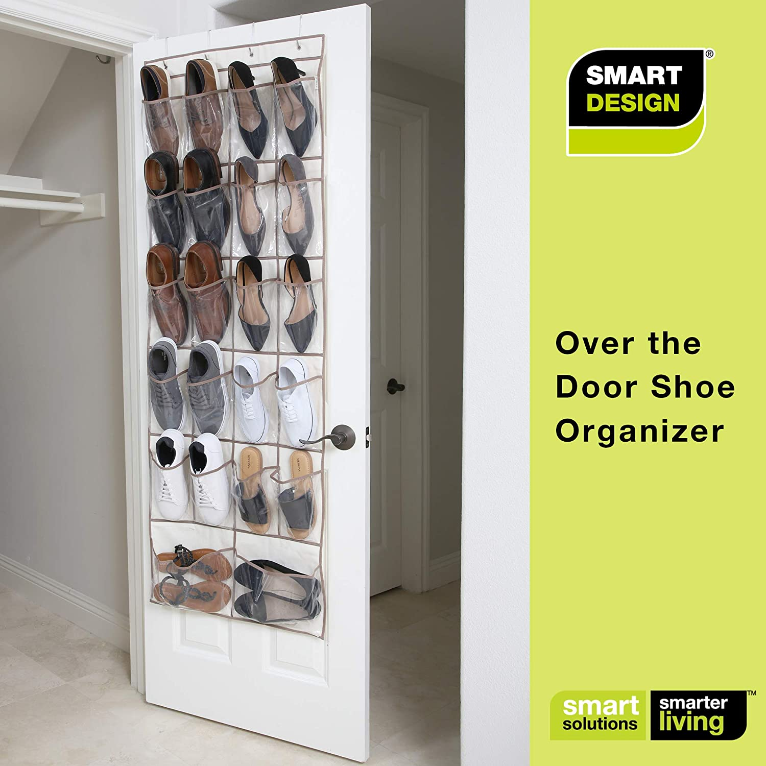 Misc For Shoes Ventilair Mesh Fabric Home Organization 21 X 73 Inch Item Smart Design Over The Door Organizer W 42 Pockets W Elastic Trim Steel Hooks Toiletries Natural Canvas Over The