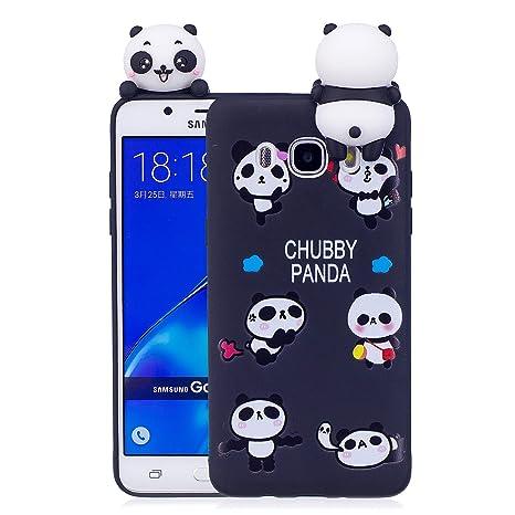 Funda Samsung Galaxy J7 2016 3D Panda Soft Carcasa Kawaii 3D Diy Case Carcasa Goma Flexible Ultrafina TPU Bumper Panda Diseño Ultra Slim Fit Shell ...