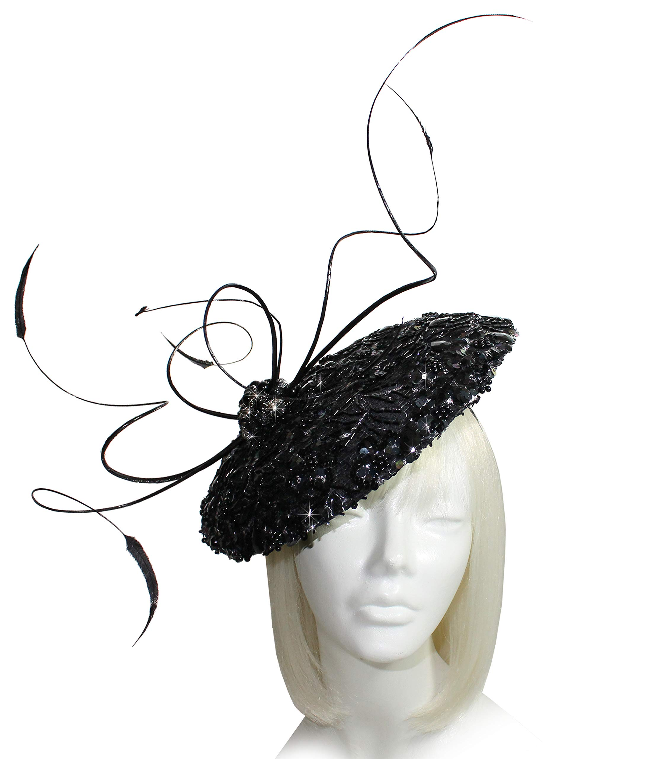 Mr. Song Millinery Kentucky Derby All-Season Lace Profile Headband Fascinator - AF109 Black