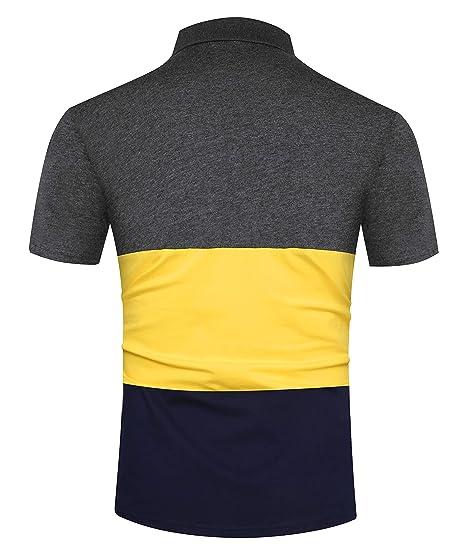 9d9a6b93914b92 Kuson Herren Poloshirt Kurzarm Streifen Sommer T-Shirt Men s Polo Shirt  Baumwolle  Amazon.de  Bekleidung