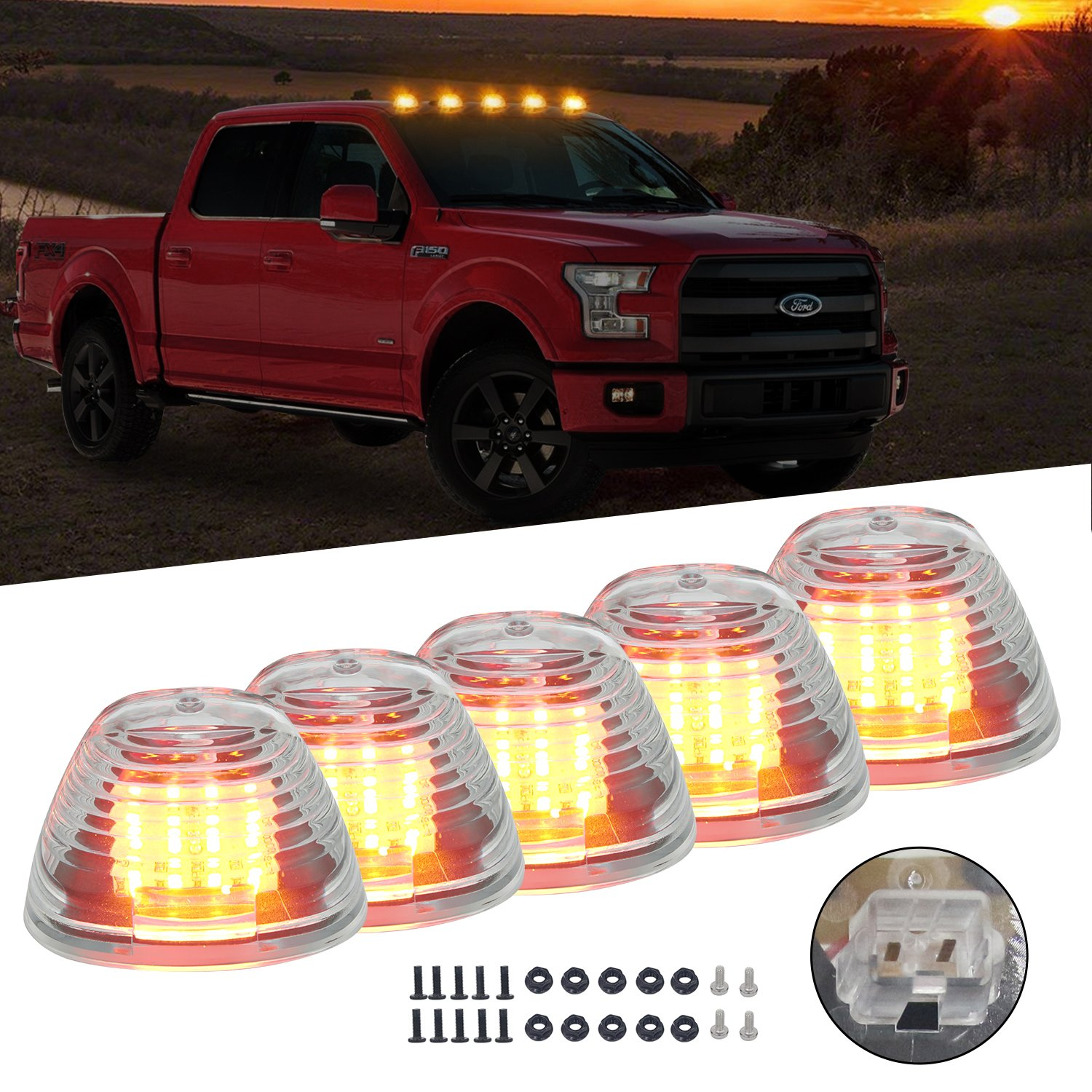 Clear Cab Roof Top Marker Running Lamps Clearance Light Lamp Amber LED Light Bulbs for Ford Truck Pickup