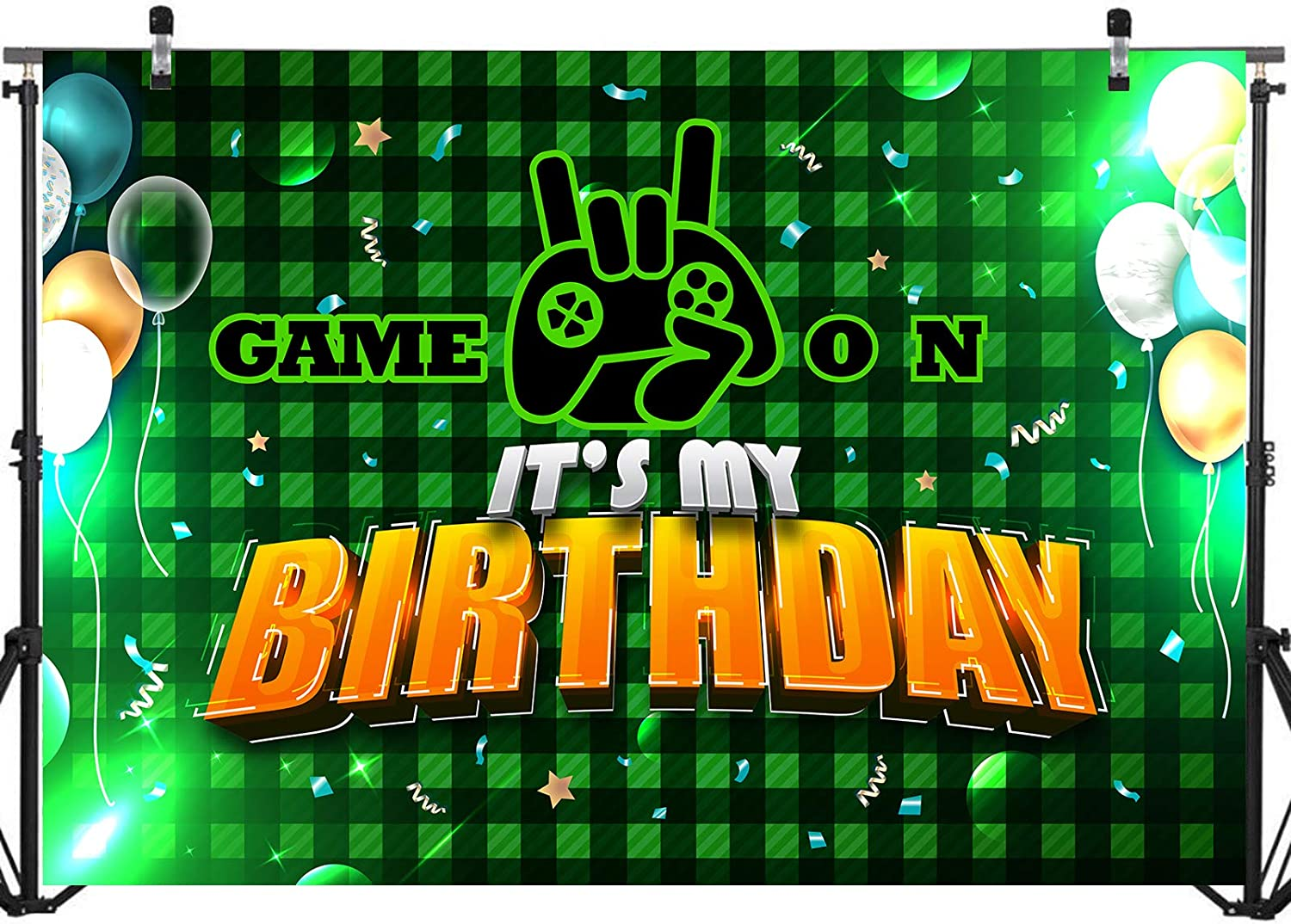 Gaming Birthday Baby Shower Party Cake Table Decorations Supplies for Boys 71/x 49/inch Happy Birthday Game on Backdrop Background Banner Wall Decorations Video Game Backdrop for Birthday Party