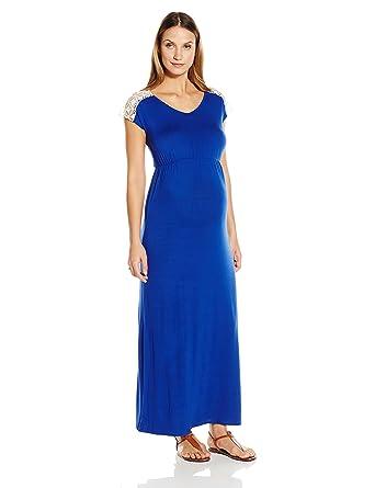 14c83b1d6b1 Everly Grey Women's Maternity Abbey Cap Sleeve Lace Trimmed Maxi Dress,  Sapphire, X-