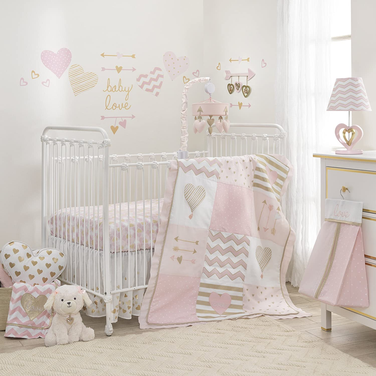 Lambs & Ivy Baby Love 6-Piece Girl Crib Bedding Set, Pink/Gold/White Hearts/Stripes/Chevron 690006K
