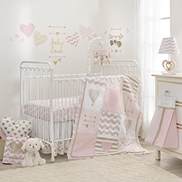 Lambs Ivy Baby Love 6 Piece Girl Crib Bedding Set Pink Gold White Hearts Stripes Chevron