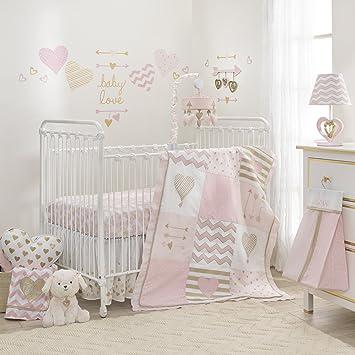 Lambs & Ivy Baby Love 6-Piece Girl Crib Bedding Set, Pink/Gold/White  Hearts/Stripes/Chevron