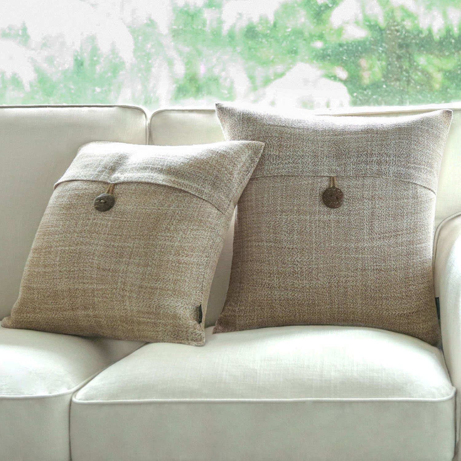 PHANTOSCOPE Set of 2 Button Beige Linen Decorative Throw Pillow Case Cushion Cover 18''X18'' -New!!