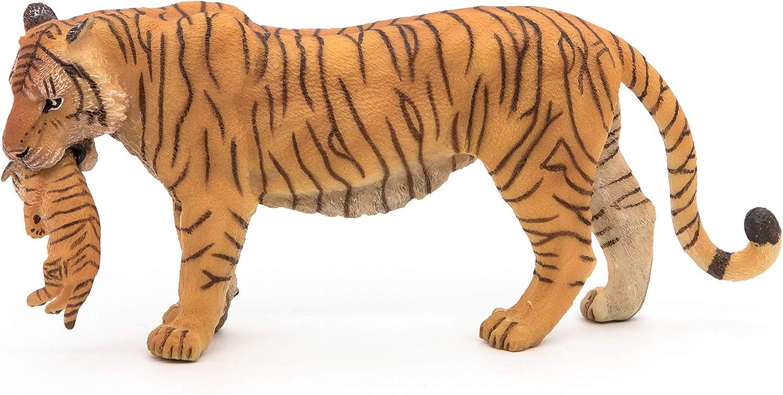 Papo 50156 Tigre Allongé et Ses Petits Se Nourrissant 13 cm Animaux Sauvages