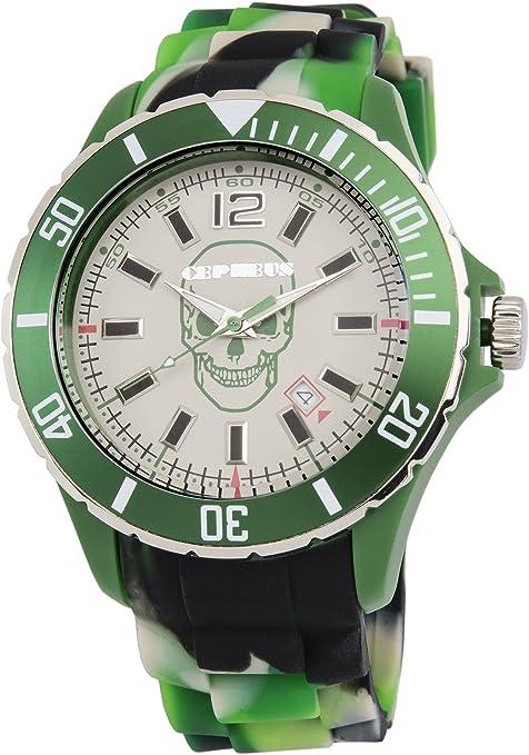 CEPHEUS Army CPX01-090 - Reloj analógico de Cuarzo Unisex, Correa de Silicona Color Verde