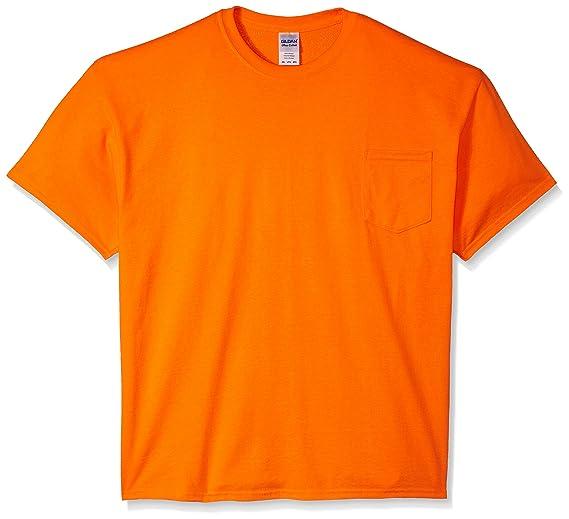 16d27d8ce70b9d Image Unavailable. Image not available for. Color: Gildan Men's Workwear  Pocket T-Shirt Extended Sizes, Safety Orange ...