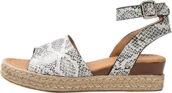 Freeship Deals Summer Thick Bottom Wedges Shoes For Women Open Toe Ankle Strap 2 Snake Print Amazon Co Uk Shoes Bags