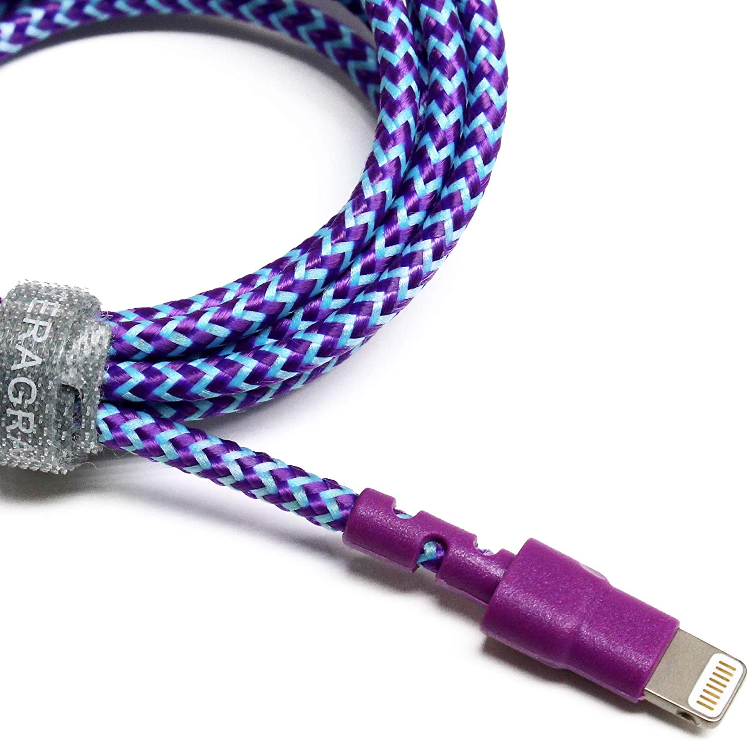 Tera Grand - Apple MFi Certified - 7X Durable Lightning to USB Braided Cable, 4 Ft iPhone 11 Pro Max 11 Pro 11 XS XS Max XR X 8 8 Plus 7 6 Plus 6 5s 5c 5 iPad Air Mini iPod (Purple & Blue)