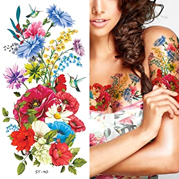 Amazon Com Supperb Temporary Tattoos Hand Drawn Colorful Summer