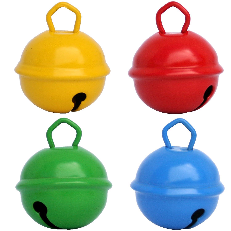 Grelot Giallo Rosso Verde Blu (4pezzi, sfera Campanellino 24mm) ottone massiccio: Bel Suono + non ruggine–Campanelle campanelle + di 16colori in 15mm, 24mm e grandi 35mm per: Montessori, hobby creativi bambini, Doudou Bebe, Bola Gravidanza, Decora