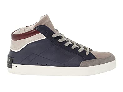 CRIME London Herren 11320BS110 Blau Leder Hi Top Sneakers