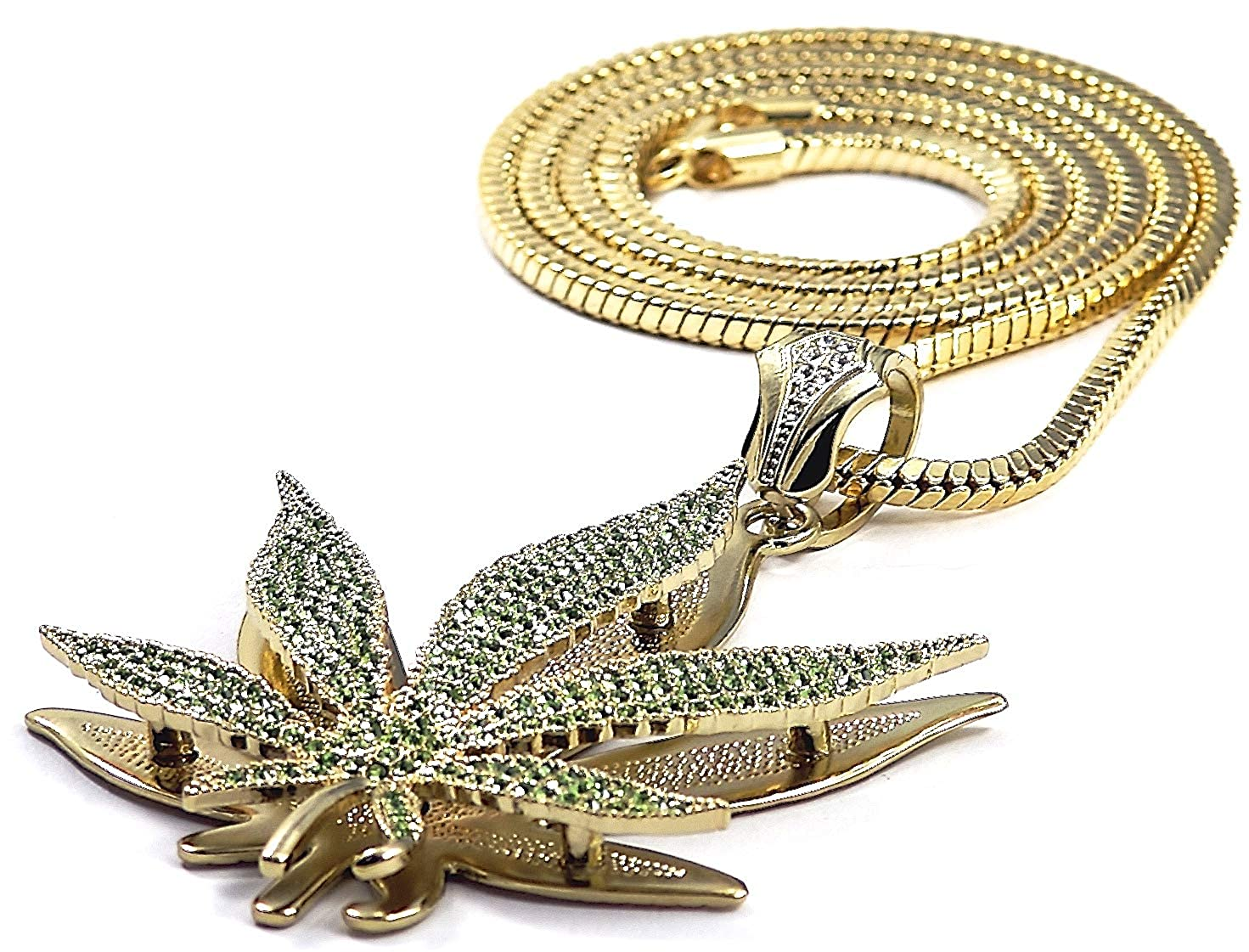 GWOOD Weed Pot Leaf Iced Out with Snake Chain Gold//Green Color Pendant Necklace Large