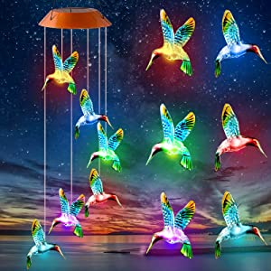 Solar Wind Chimes Changing Colors, 2021 Decorative Hummingbird Hanging Windchime Lights for Outdoor Decor Home Patio Yard Lawn Garden Backyard LED Sympathy Memorial Outside Gift for Mom Grandma Women