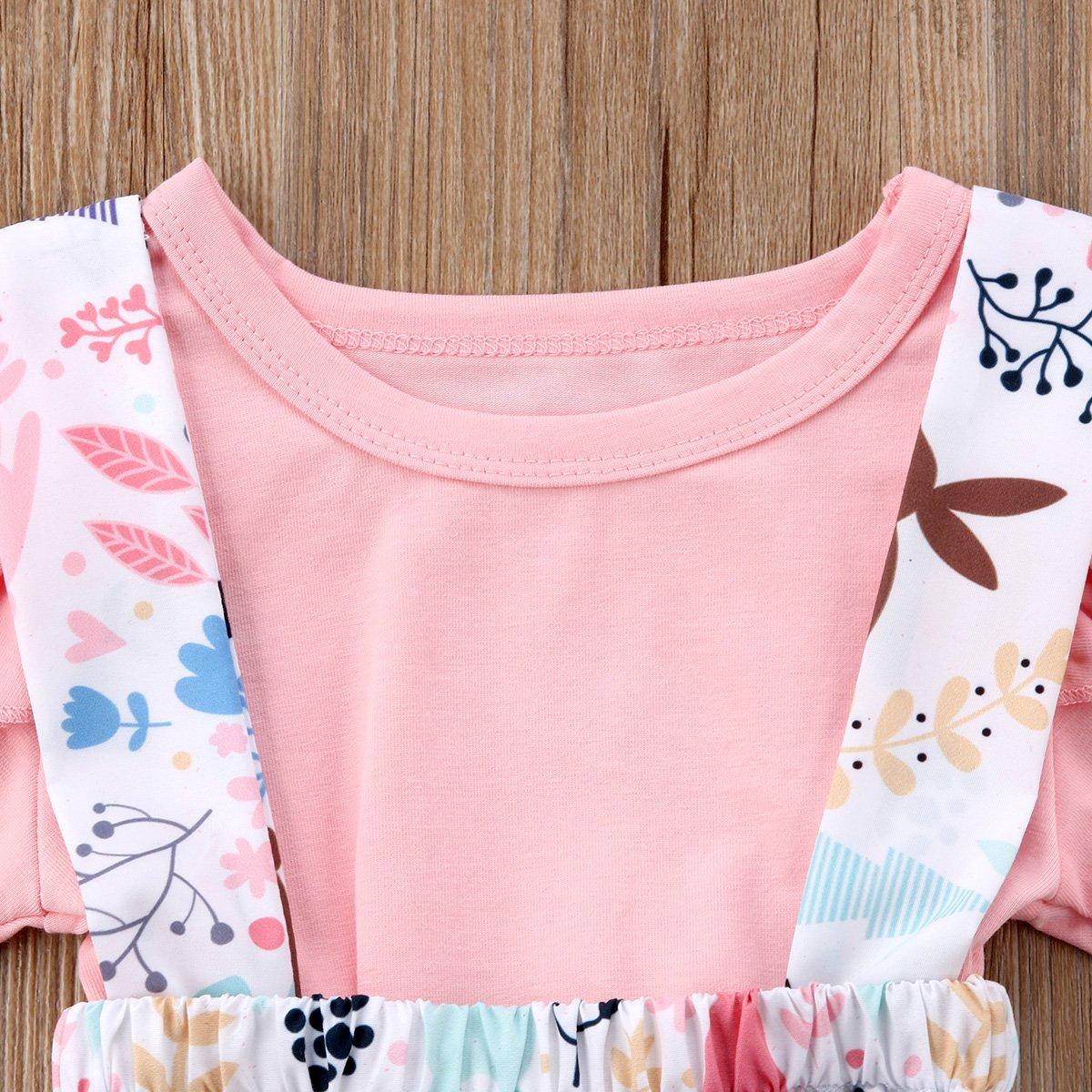 Easter Day-Toddler Baby Girls Skirt Set Ruffle Sleeve T-Shirt Tops Bunny Overall Skirt