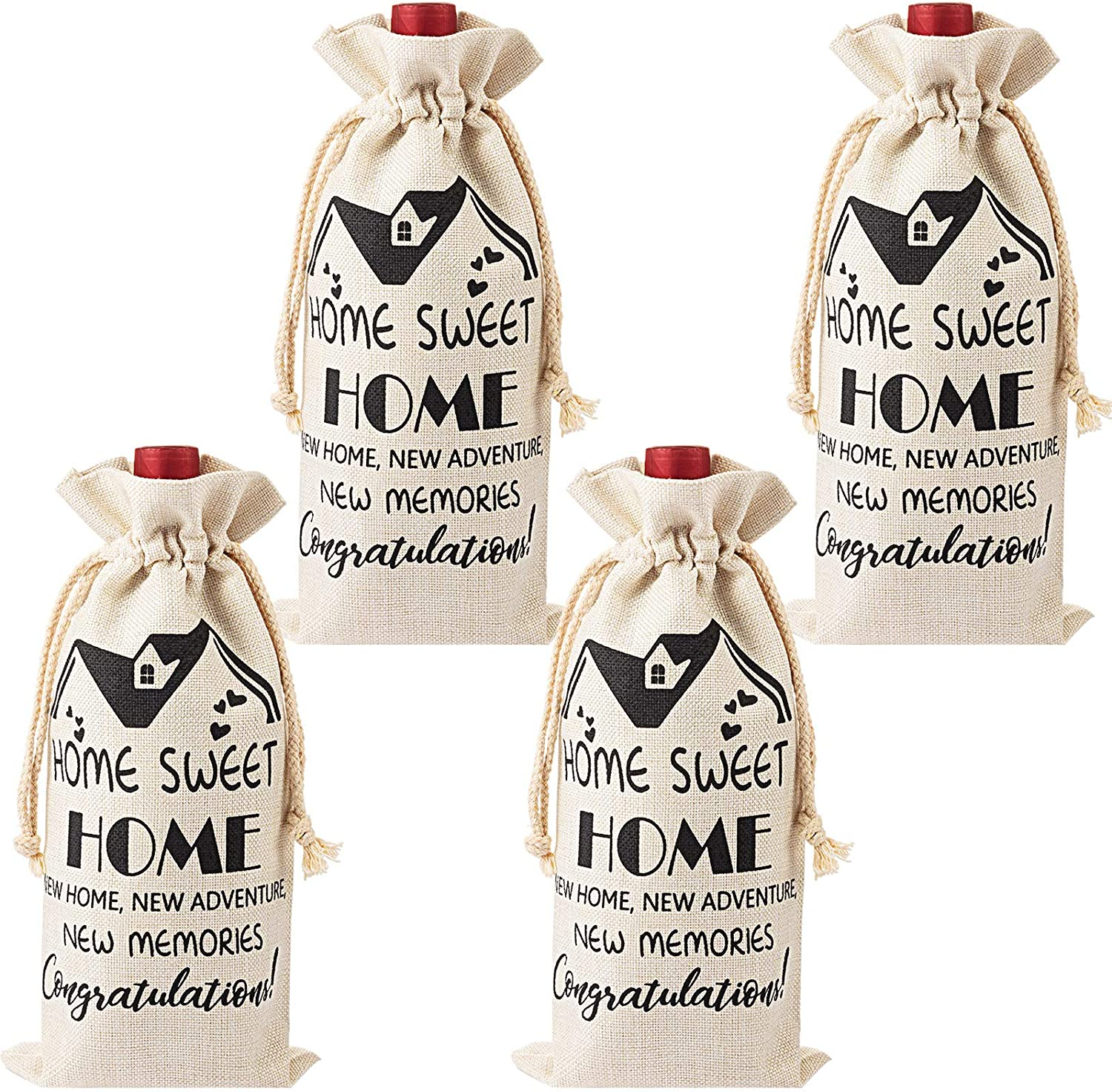 4 Pieces Housewarming Wine Bags Gifts for Home, House Warming Decoration Congrats Presents, First New Home House Homeowner Wine Bottle Bag Gifts for Men, Women, Friends, Coworkers