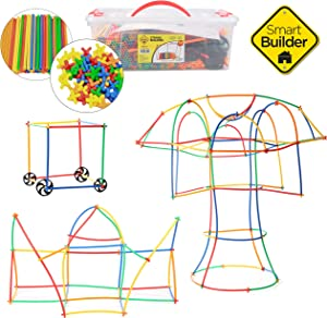 Smart Builder Toys Straws and Connectors Building and Construction Set, Includes 750 Pcs and Free Storage Container