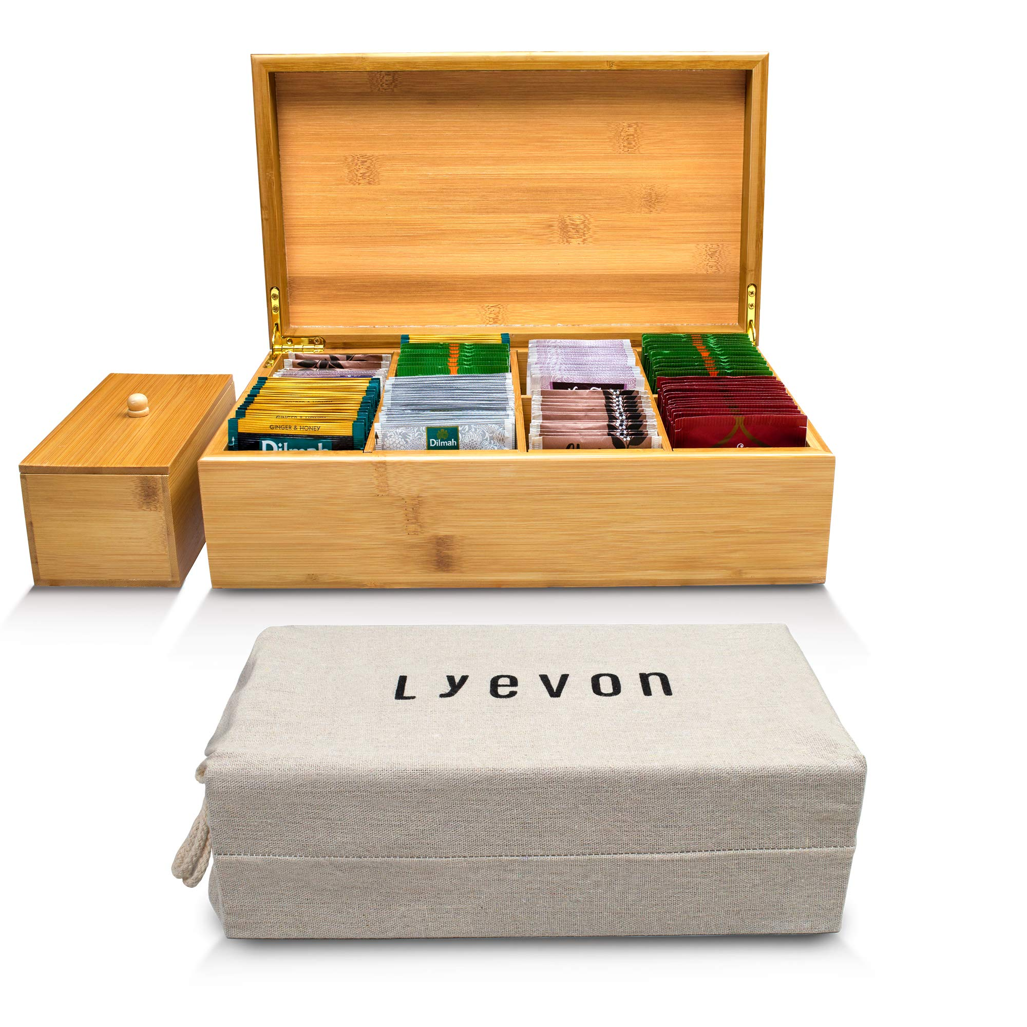 Tea Box Organizer - 8 Adjustable Compartments - Handmade Bamboo Tea Chest by Lyevon - holds 125 Tea Bags - With Container For Loose Leaf Tea - Natural Bamboo