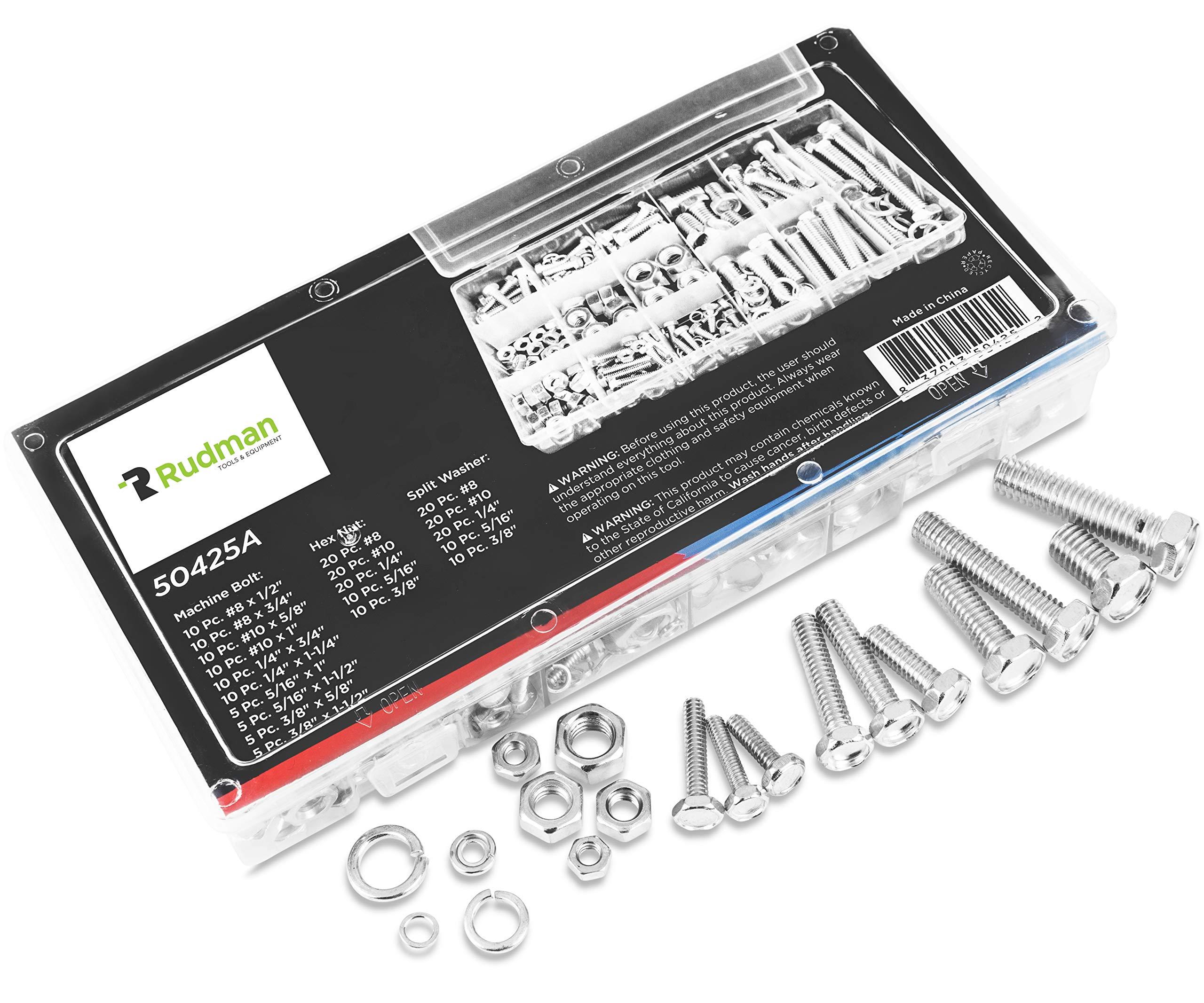 Ruddman Supplies - SAE Standard Assorted Nut and Bolt Hardware Set with Hard Plastic Organizing Case - 240 Piece Set by Ruddman Supplies (Image #3)