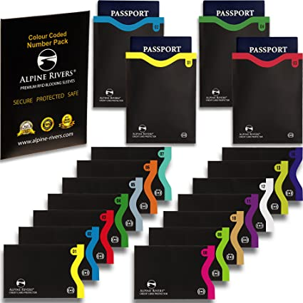 La conception intelligente tient dans le portefeuille // sac /à main Ultimate Identity Vol Protection Set pour hommes et femmes 18 manchons de blocage RFID 14 cartes de cr/édit et 4 passeports