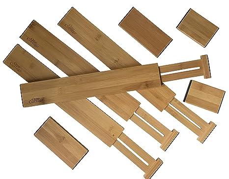 Amazon.com: Organizador de cajones de madera ajustable por ...